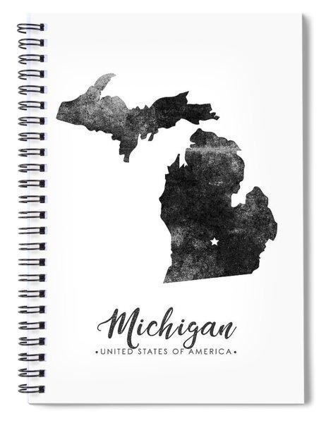 Michigan State Map Art - Grunge Silhouette Spiral Notebook