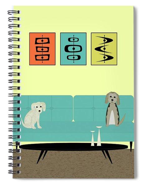 Mid Century Modern Dogs 2 Spiral Notebook