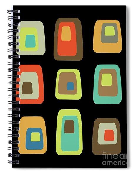 Mid Century Modern Oblongs On Black Spiral Notebook