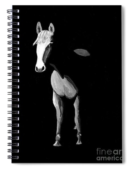 Midnight Beauty - Black And White Horse Spiral Notebook