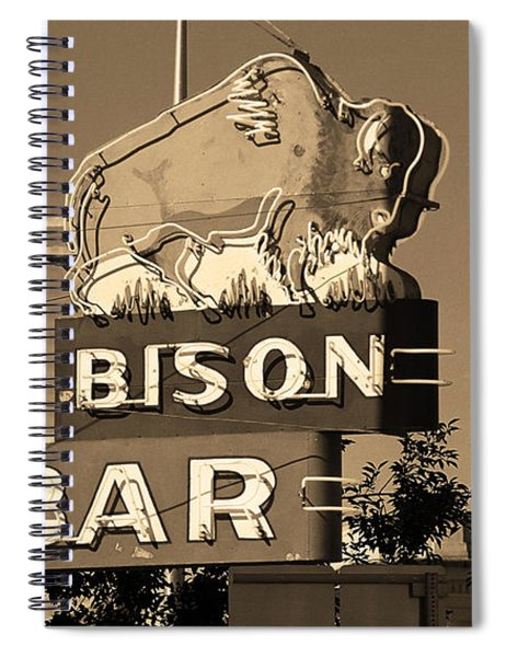 Miles City, Montana - Bison Bar Sepia Spiral Notebook