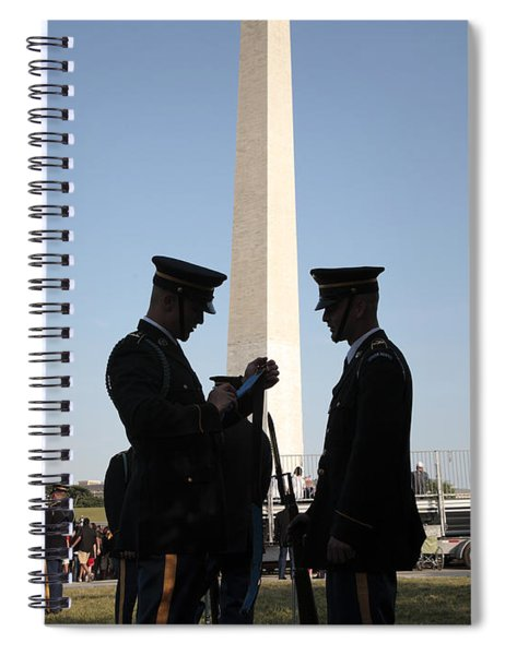 Military Ceremony At The Washington Monument Spiral Notebook