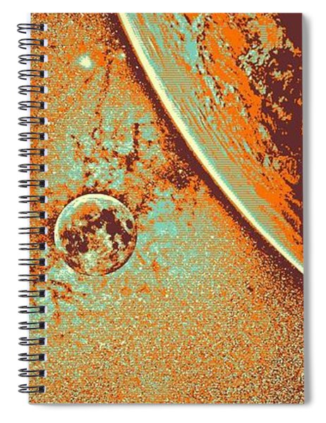 Milky Way Galaxy, The Blue Planet And Her Blood Moon 5 Spiral Notebook