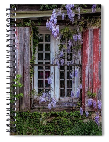Mill Window Framed By Wisteria  Spiral Notebook