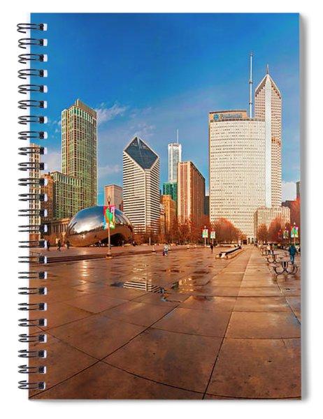 Millennium Park Skyline And The Bean  Spiral Notebook