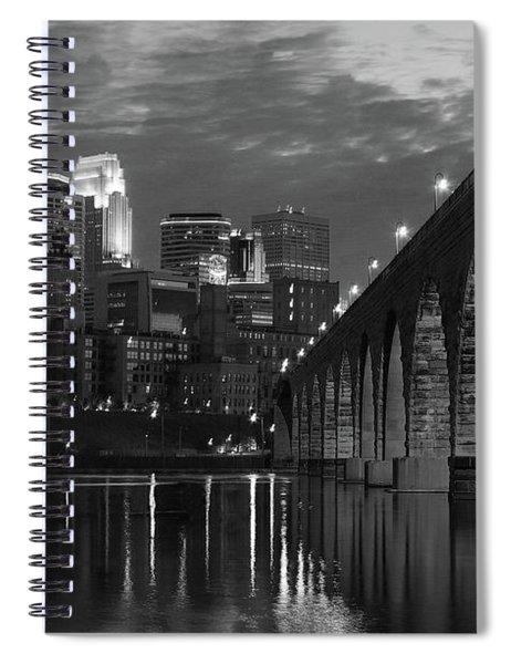 Minneapolis Stone Arch Bridge Bw Spiral Notebook