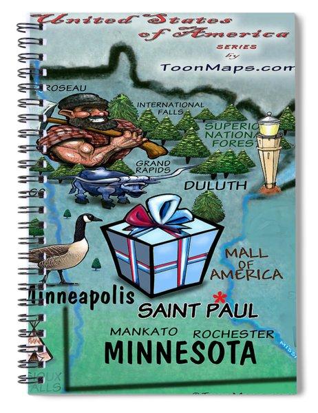 Minnesota Fun Map Spiral Notebook