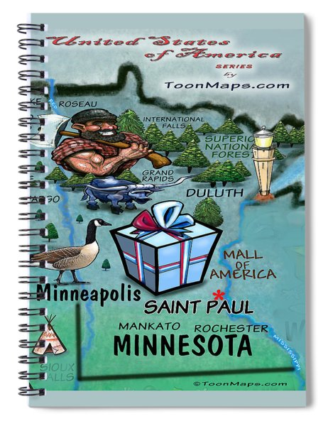 Minnesota Fun Map Spiral Notebook