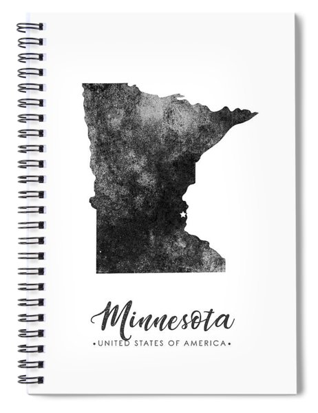 Minnesota State Map Art - Grunge Silhouette Spiral Notebook
