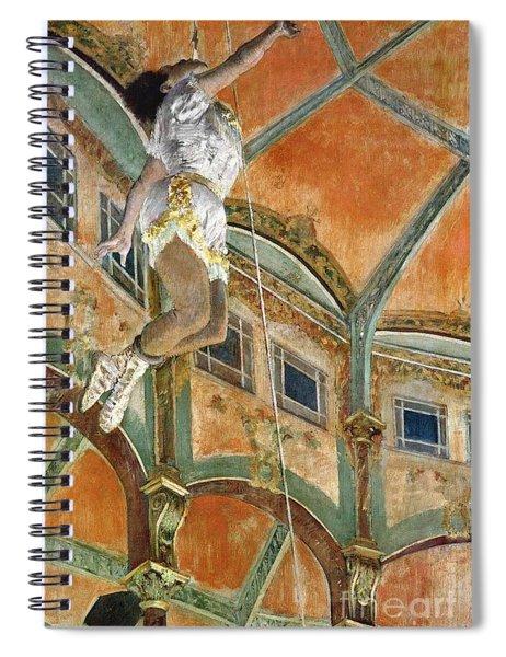 Miss La La At The Cirque Fernando Spiral Notebook by Edgar Degas