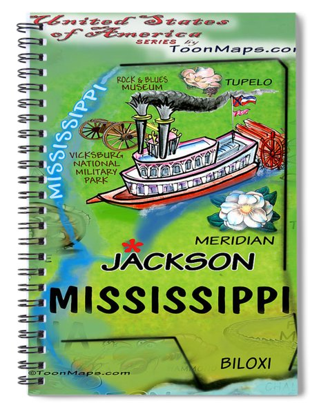 Mississippi Fun Map Spiral Notebook