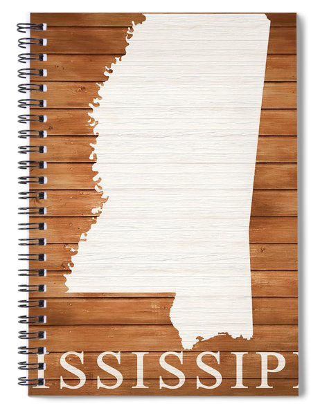 Mississippi Rustic Map On Wood Spiral Notebook
