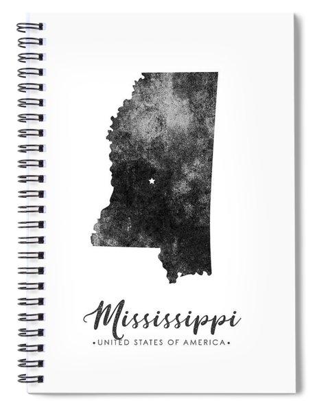 Mississippi State Map Art - Grunge Silhouette Spiral Notebook