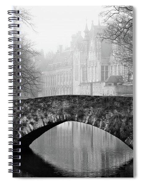 Spiral Notebook featuring the photograph Misty Morning Canal In Bruges by Barry O Carroll