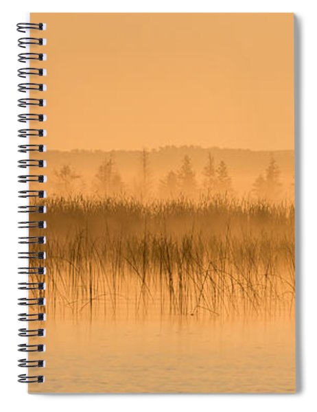 Spiral Notebook featuring the photograph Misty Morning Floating Bog Island On Boy Lake by Patti Deters