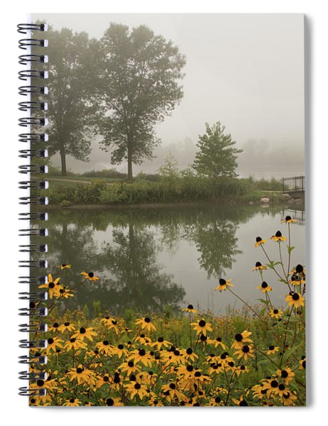 Spiral Notebook featuring the photograph Misty Pond Bridge Reflection #3 by Patti Deters