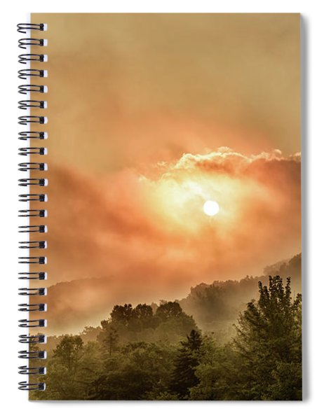 Misty Sunrise On The Mountain  Spiral Notebook