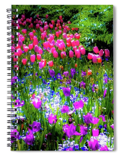 Mixed Flowers And Tulips Spiral Notebook