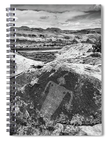 Moab Maiden Petroglyph - Black And White - Utah Spiral Notebook