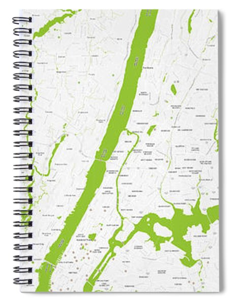 Modern Map Of Upper New York Spiral Notebook