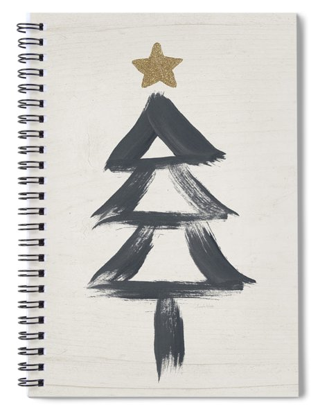 Modern Primitive Black And Gold Tree 2- Art By Linda Woods Spiral Notebook