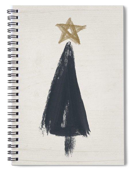 Modern Primitive Black And Gold Tree 3- Art By Linda Woods Spiral Notebook