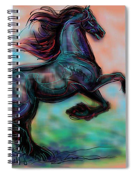 Modern Royal Friesian Spiral Notebook
