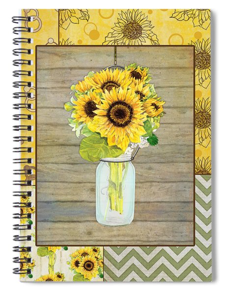Modern Rustic Country Sunflowers In Mason Jar Spiral Notebook