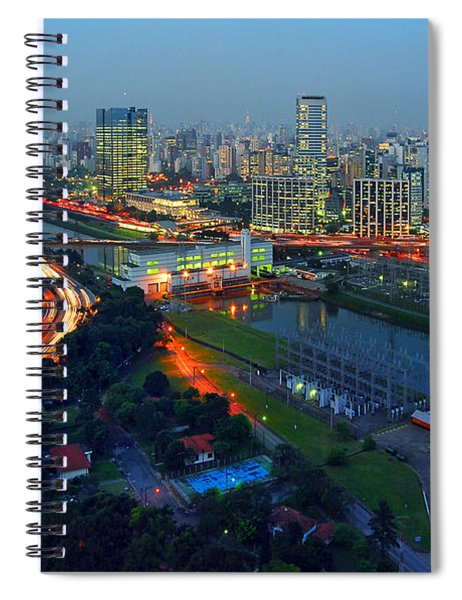 Modern Sao Paulo Skyline - Cidade Jardim And Marginal Pinheiros Spiral Notebook