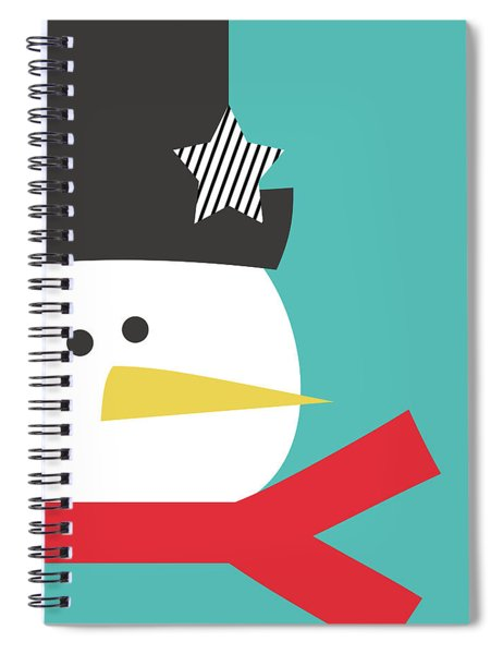 Modern Snowman With Star- Art By Linda Woods Spiral Notebook