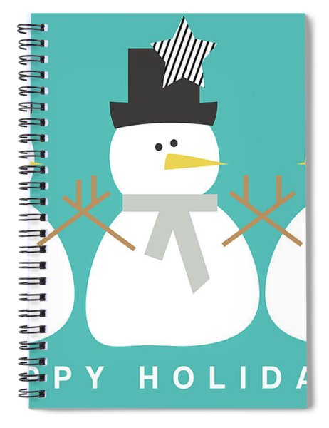 Modern Snowmen Happy Holidays- Art By Linda Woods Spiral Notebook