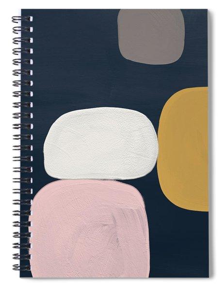 Modern Stones Navy 2- Art By Linda Woods Spiral Notebook by Linda Woods
