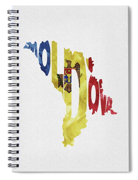 Moldova Typographic Map Flag Spiral Notebook