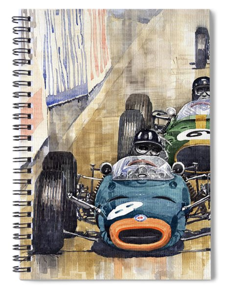 Monaco Gp 1964 Brm Brabham Ferrari Spiral Notebook