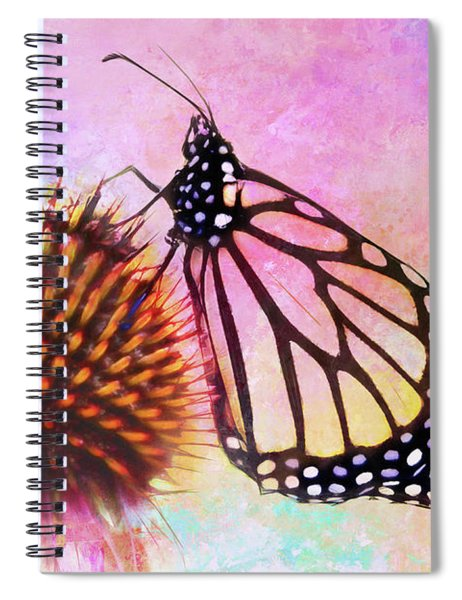 Monarch Butterfly On Coneflower Abstract Spiral Notebook