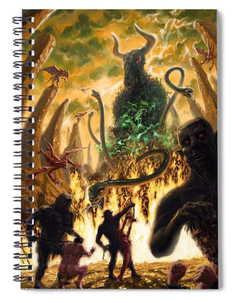 Spiral Notebook featuring the digital art Monday In Hell With Devil by Martin Davey