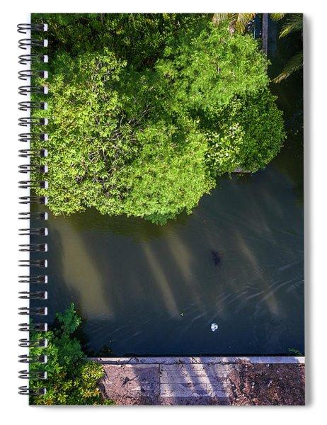 Monk Rowing Boat Along Floating Market Aerial View Spiral Notebook by Pradeep Raja PRINTS