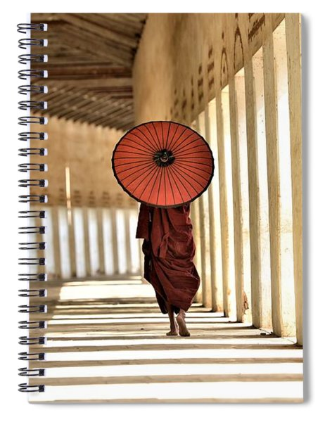 Monk With Umbrella Walking In Th Light Passway Spiral Notebook