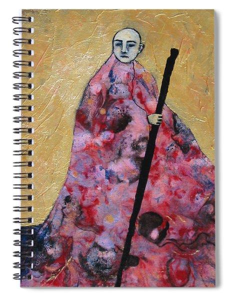 Monk With Walking Stick Spiral Notebook