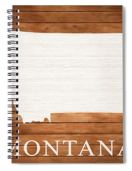 Montana Rustic Map On Wood Spiral Notebook