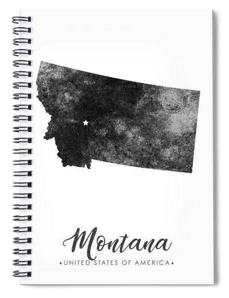 Montana State Map Art - Grunge Silhouette Spiral Notebook