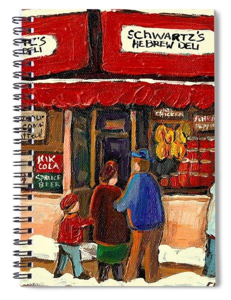 Montreal Hebrew Delicatessen Schwartzs By Montreal Streetscene Artist Carole Spandau Spiral Notebook