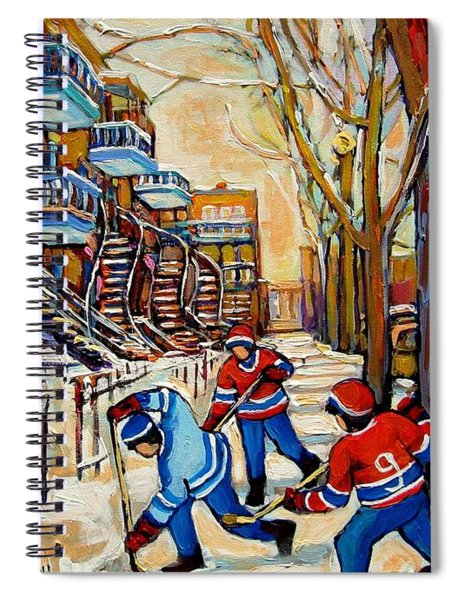 Montreal Hockey Game With 3 Boys Spiral Notebook