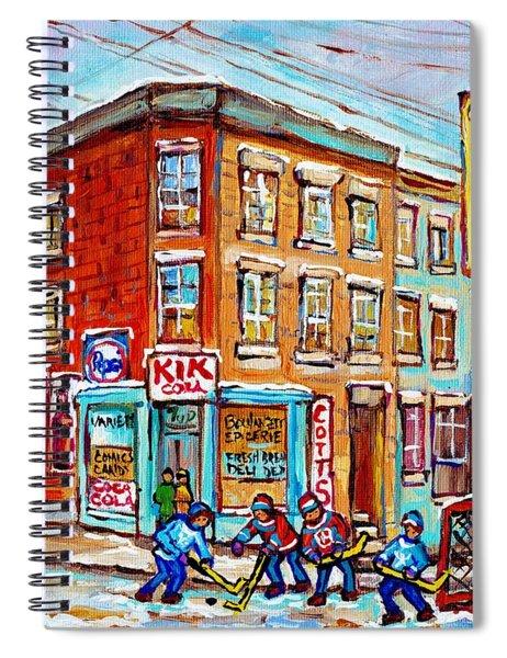 Montreal Storefront Paintings Debullion Street Hockey Art Quebec Winterscenes C Spandau Canadian Art Spiral Notebook
