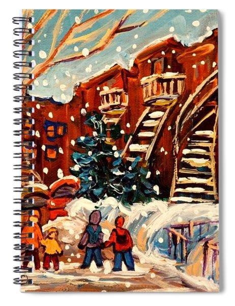Montreal Street In Winter Spiral Notebook