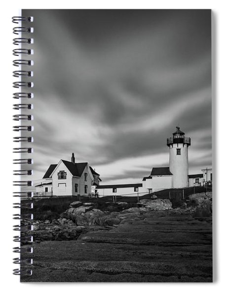 Moody Sky At Eastern Point Lighthouse Spiral Notebook