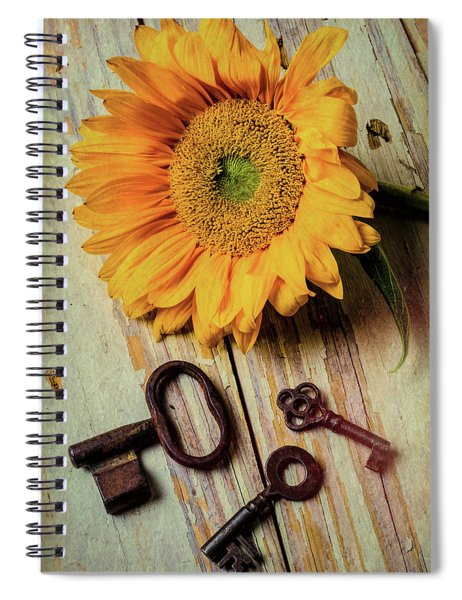 Moody Sunflower With Keys Spiral Notebook