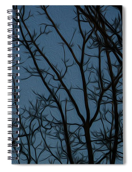 Moon At Dusk Through Trees - Impressionism Spiral Notebook