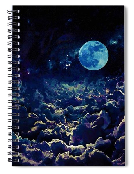 Moon Over Dark Clouds In Watercolor Spiral Notebook