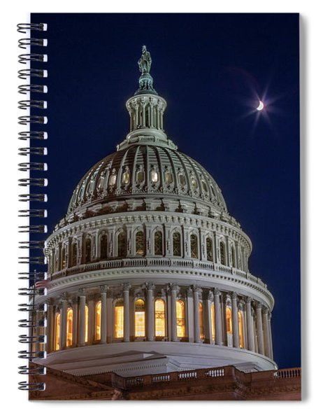 Moon Over The Washington Capitol Building Spiral Notebook